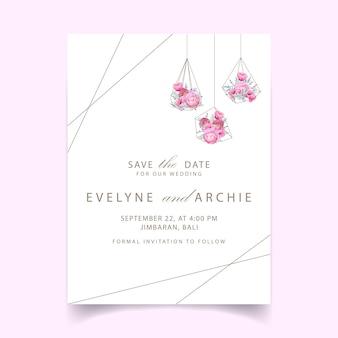Invitación de boda con ranúnculos florales y flores de amapola