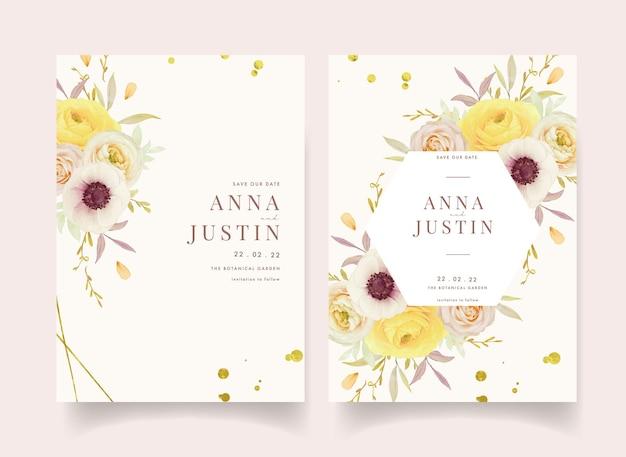 Invitación de boda con ranúnculos de rosas acuarelas y flores de anémona