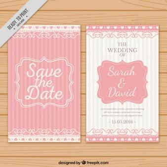Invitación de boda con rayas de color rosa