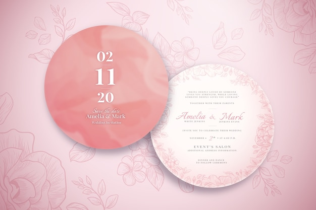 Invitación de boda realista con adornos