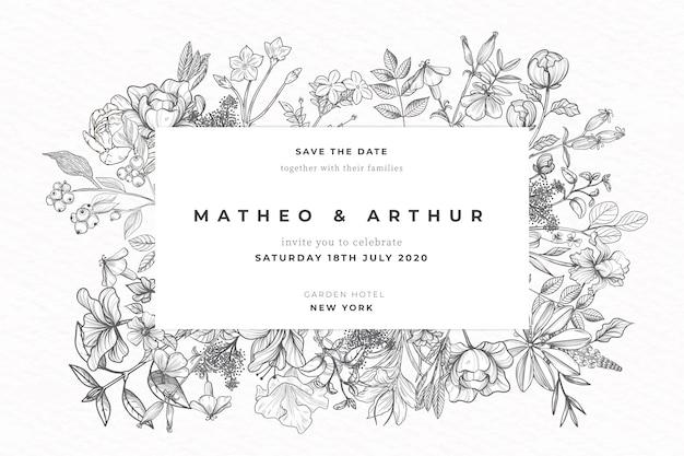 Invitación de boda realista flores dibujadas a mano