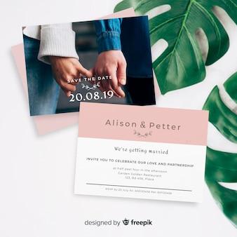 Invitación de boda realista con foto.