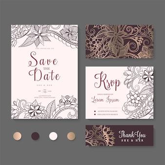 Invitación de boda, reserva la fecha. plantilla de diseño.