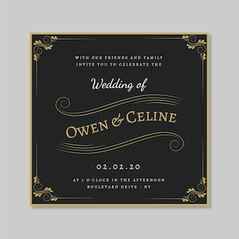 Invitación de boda retro con adornos dorados