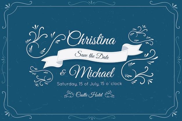 Invitación de boda retro con decoración