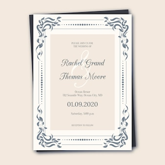 Invitación de boda retro elegante