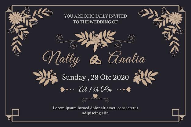 Invitación de boda retro linda
