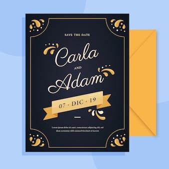 Invitación de boda retro con plantilla de letras encantadoras