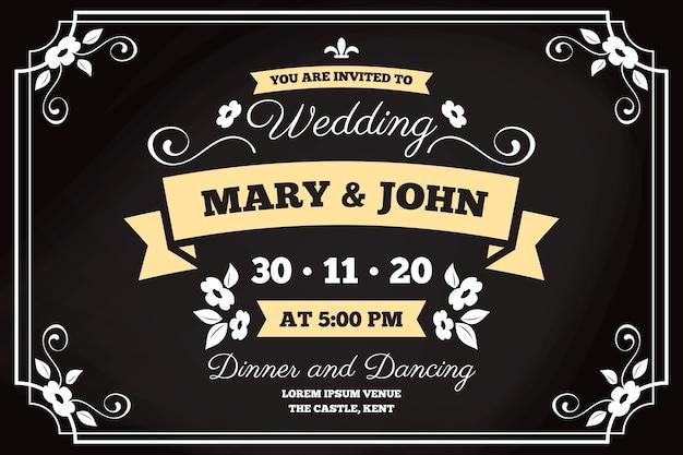Invitación de boda retro de plantilla