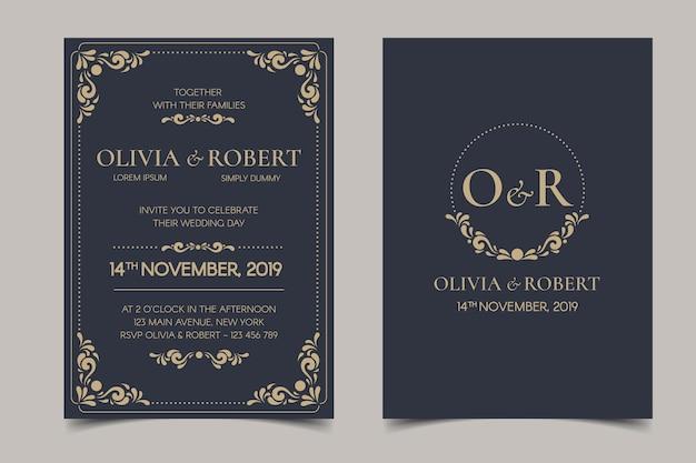 Invitación de boda retro sobre fondo oscuro