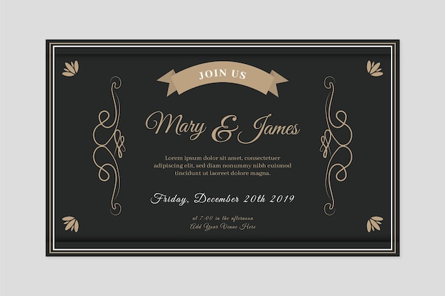 Invitación de boda retro en tonos negros