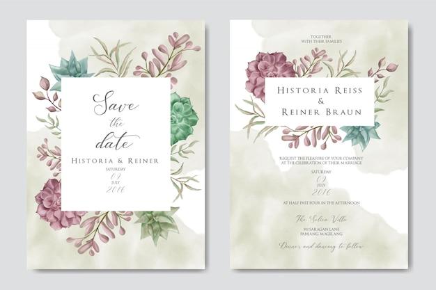 Invitación de boda romántica con coloridas flores y hojas