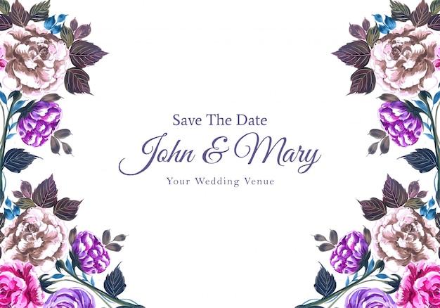 Invitación de boda romántica con flores de colores de fondo
