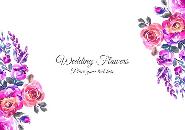 Invitación de boda romántica con flores de colores