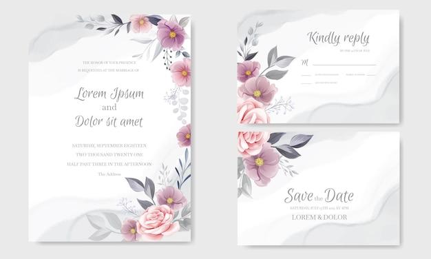 Invitación de boda romántica con hermosa rosa y cosmos flor acuarela