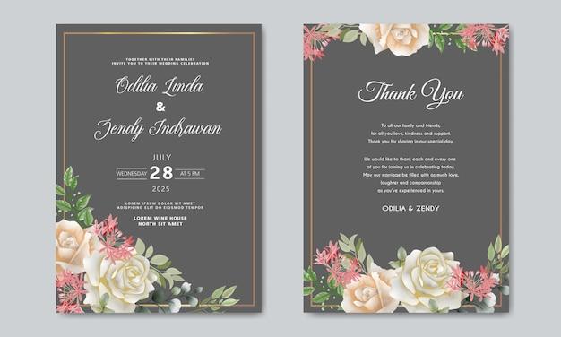 Invitación de boda romántica con hermosas flores