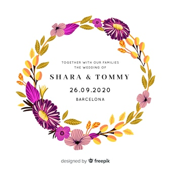 Invitación de boda romántica con marco floral