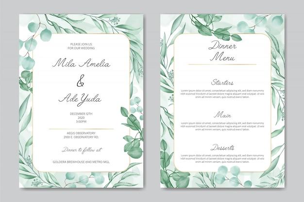 Invitación de boda romántica y plantilla de menú de cena con adornos florales y marco dorado