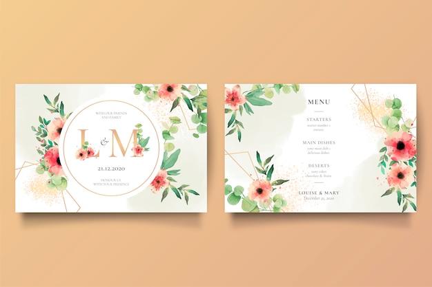 Invitación de boda romántica y plantilla de menú