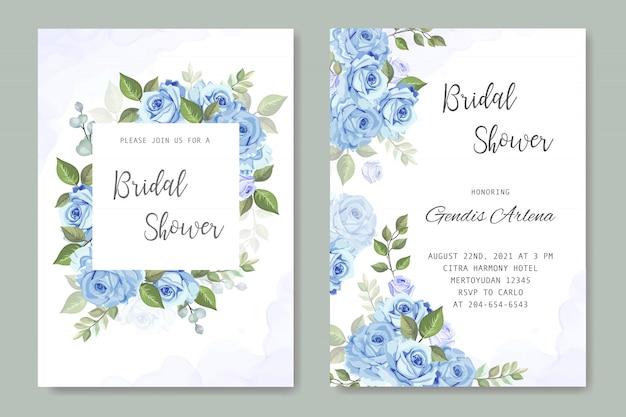 Invitación de boda con rosa azul