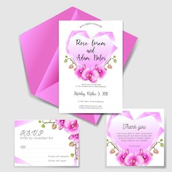 Invitación de boda con rosa diamante y orquídea.