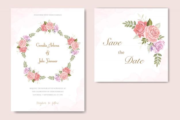 Invitación de boda rosa flor vector