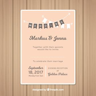 Invitación de boda rosa con guirnaldas decorativas