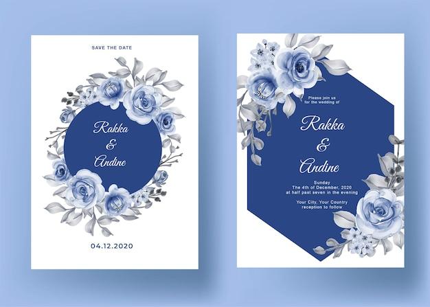 Invitación de boda con rosa y hoja azul marino