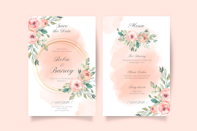 Invitación de boda rosa suave y plantilla de menú