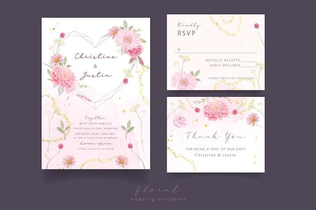 Invitación de boda con rosas acuarelas, dalia y flores de gerbera