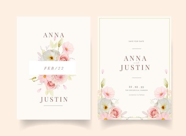 Invitación de boda con rosas acuarelas y dalia rosa