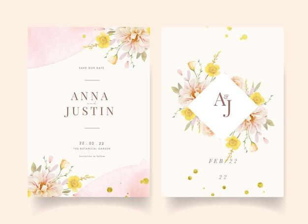 Invitación de boda con rosas acuarelas y dalia