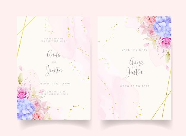 Invitación de boda con rosas acuarelas y flor de hortensia azul