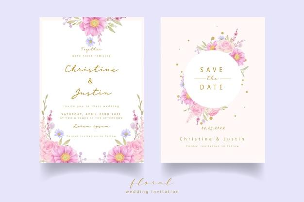 Invitación de boda con rosas acuarelas y flores de anémona