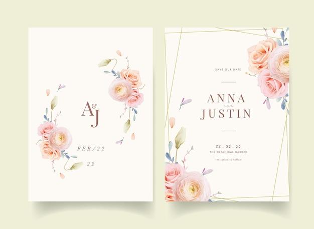 Invitación de boda con rosas acuarelas y gerbera