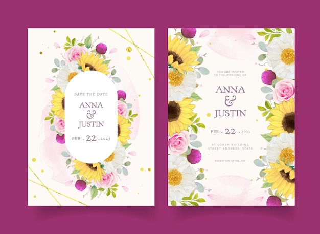 Invitación de boda con rosas acuarelas y girasol