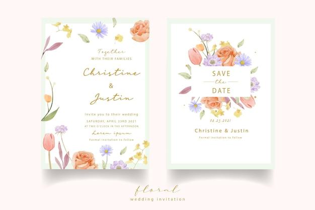 Invitación de boda con rosas acuarelas, tulipanes y flores de escabiosa