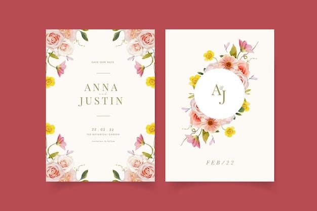 Invitación de boda con rosas acuarelas y zinnia