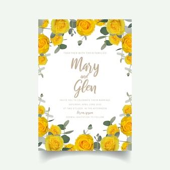 Invitación de boda con rosas amarillas florales