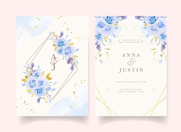Invitación de boda con rosas azules acuarelas