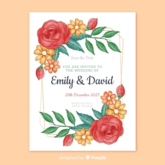 Invitación de boda rosas dibujadas a mano