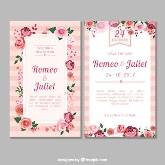 Invitación de boda con rosas de diseño plano