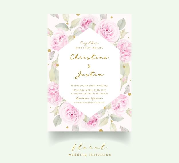 Invitación de boda con rosas florales acuarelas