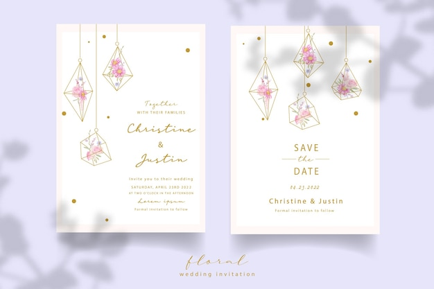 Invitación de boda con rosas florales y flores de anémona