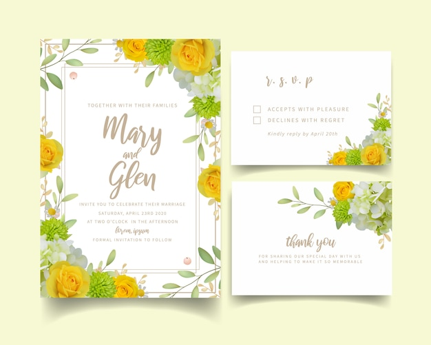 Invitación de boda con rosas florales y hortensias