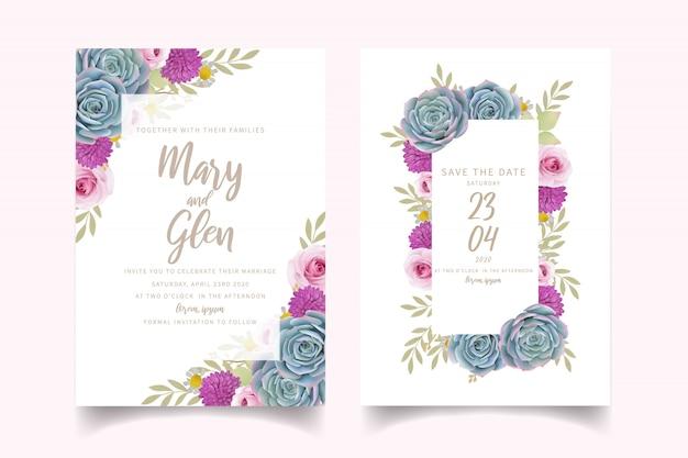 Invitación de boda con rosas florales y suculentas