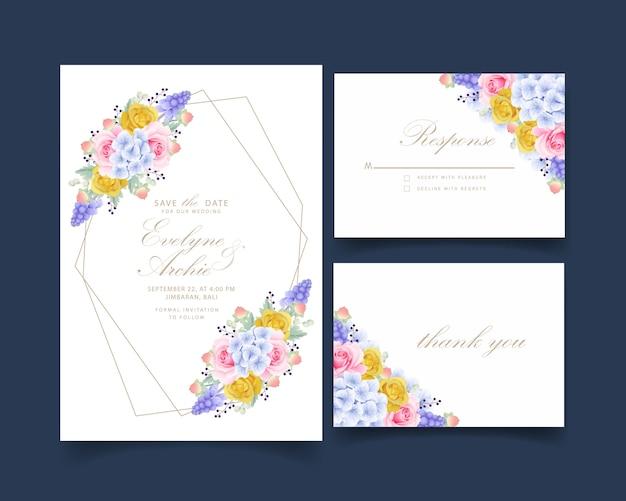 Invitación de boda rosas y hortensias florales