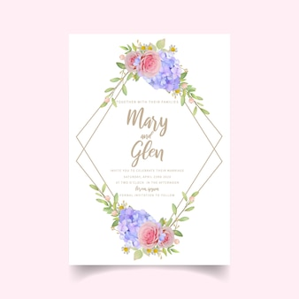 Invitación de boda con rosas y hortensias florales