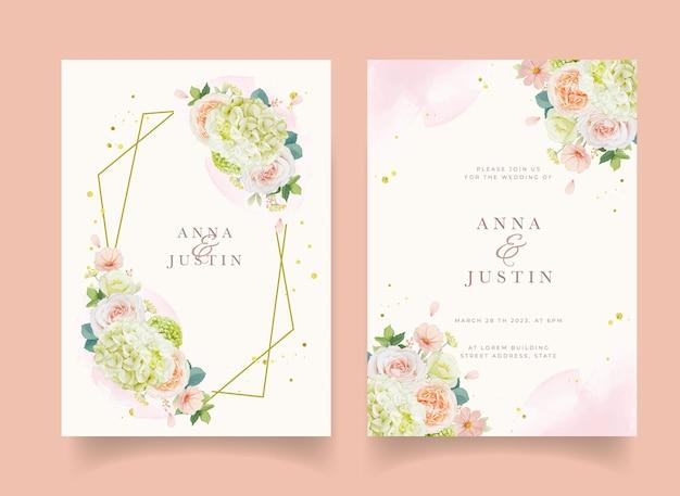 Invitación de boda con rosas melocotón acuarela y flor de hortensia