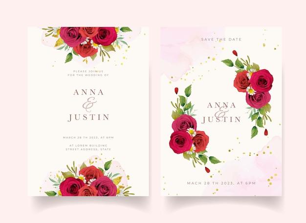 Invitación de boda con rosas rojas acuarelas